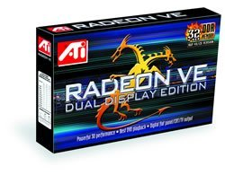 ATI Radeon VE Dual wyświetlacz Edition, 32MB DDR, TV-out, DVI, AGP, Bulk