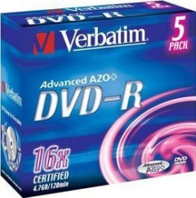 Verbatim DVD-R 4.7GB 16x, 5er Jewelcase (43519)