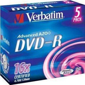 Verbatim DVD-R 4.7GB 16x, 5er Jewelcase (43519)