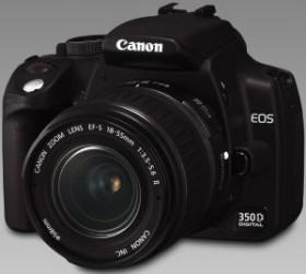 Canon EOS 350D schwarz mit Objektiv EF-S 18-55mm und EF 55-200mm