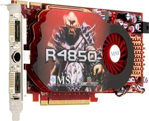 MSI R4850-T2D512 Single Slot, Radeon HD 4850, 512MB GDDR3, 2x DVI, TV-out (V803-255R)
