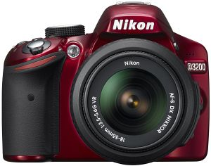Nikon D3200 (SLR) red with lens AF-S VR DX 18-55mm 3.5-5.6G (VBA331K001)