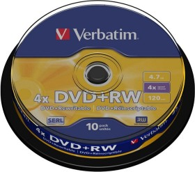 Verbatim DVD+RW 4.7GB 4x, 10-pack Spindle (43488)