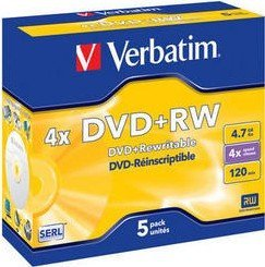 Verbatim DVD+RW 4.7GB 4x, 5er Jewelcase (43229)