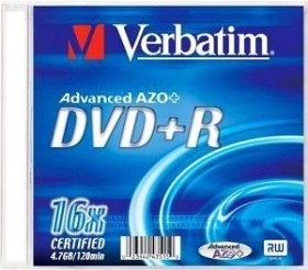 Verbatim DVD+R 4.7GB 16x, 1-pack Jewelcase printable
