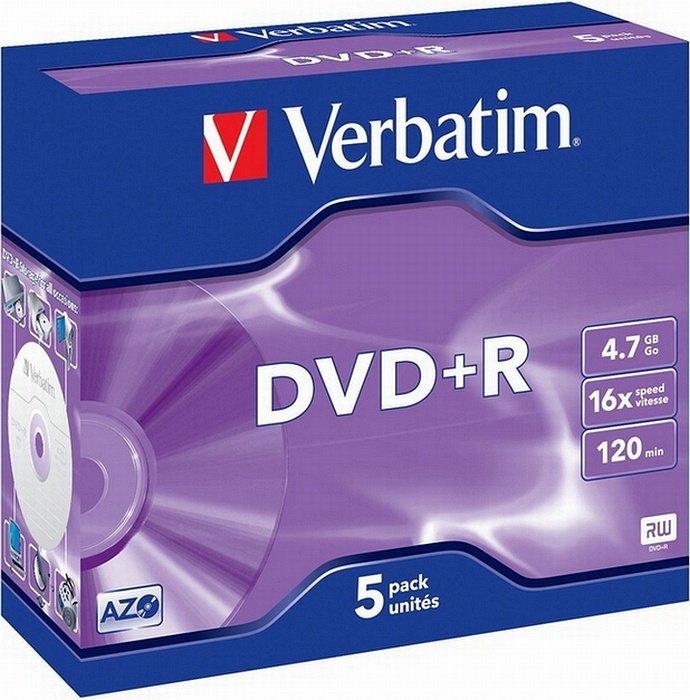 Verbatim DVD+R 4.7GB 16x, 5er Jewelcase (43497)