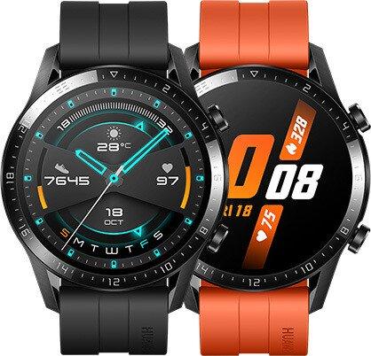 Huawei Watch GT 2 Sport 46mm schwarz mit Sportarmband sunset orange (55024321)