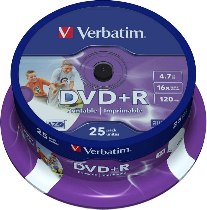 Verbatim DVD+R 4.7GB 16x, 25er Spindel printable (43539)