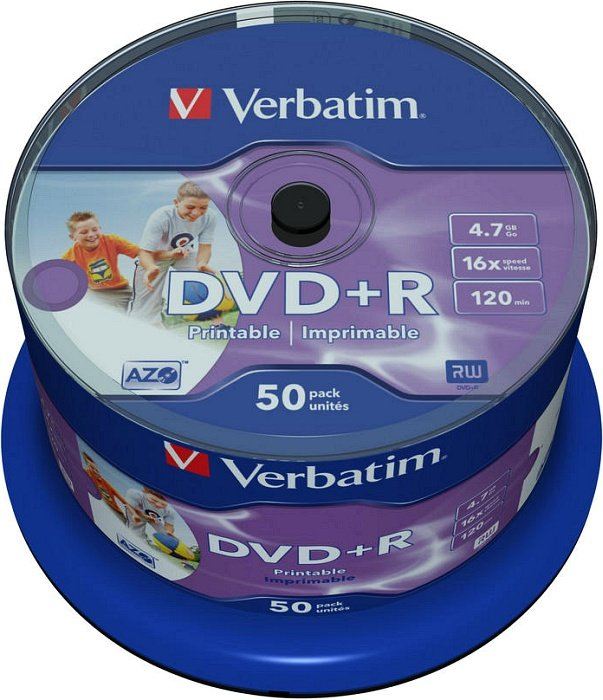 Verbatim DVD+R 4.7GB 16x, 50er Spindel wide inkjet printable (43512)