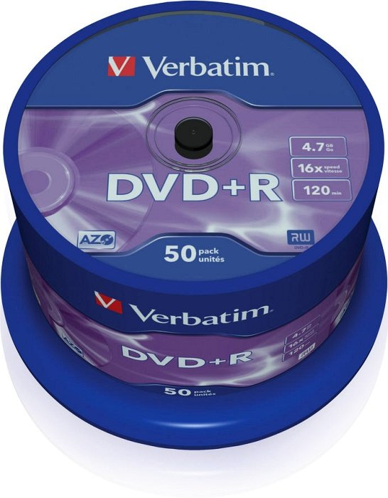 Verbatim DVD+R 4.7GB 16x, 50-pack Spindle (43550)