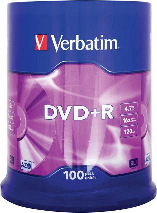 Verbatim DVD+R 4.7GB 16x, 100er Spindel (43551)
