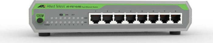 Allied Telesis CentreCOM FS710 desktop switch, 8x RJ-45, DC Version (AT-FS710/8E)