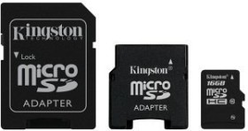 Kingston microSDHC 16GB Pack, Class 10 (SDC10/16GB-2ADP)