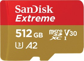 SanDisk Extreme R160/W90 microSDXC 512GB Kit, UHS-I U3, A2, Class 10 (SDSQXA1-512G-GN6MA)