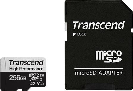 Transcend 330S R100/W85 microSDXC 256GB Kit, UHS-I U3, A2, Class 10 (TS256GUSD330S)