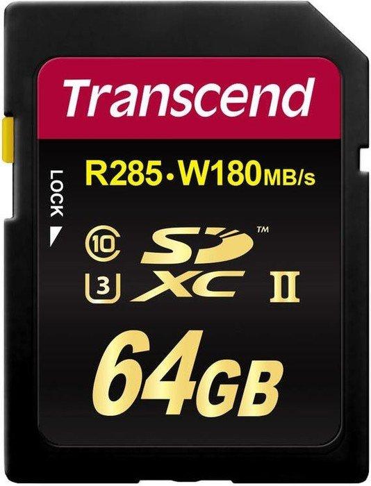 Transcend Ultimate R285/W180 SDXC 64GB, UHS-II U3, Class 10 (TS64GSD2U3)