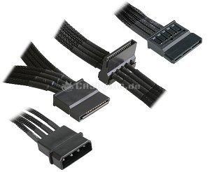 NZXT SATA-power adapter 4-Pin (IDE) on 3x 15-Pin (SATA) 20cm, sleeved black (CB 43SATA) -- © caseking.de