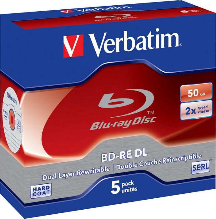 Verbatim BD-RE DL 50GB 2x,  5er Jewelcase (43760)
