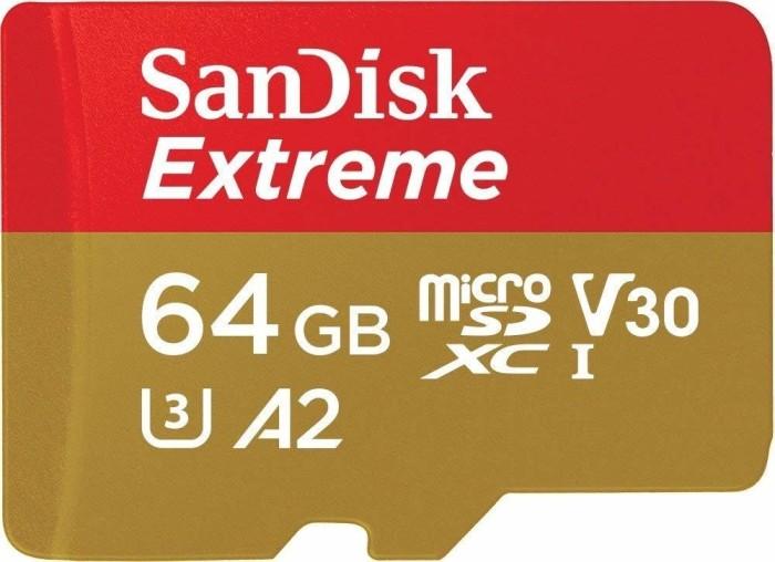 SanDisk Extreme R160/W60 microSDXC 64GB Kit, UHS-I U3, A2, Class 10 (SDSQXA2-064G-GN6MA)