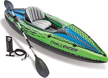 Ruder- & Paddelboote INTEX Kajak Challenger K1 Boot Set Schlauchboot Paddel Pumpe 274x76x33 cm 68305 Bootsport