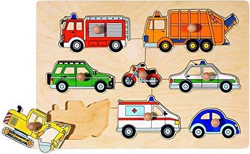Setzpuzzle Steckpuzzle Polizei Feuerwehr Krankenwagen  Holzpuzzle Setzpuzzle aus Holz goki