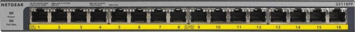 Netgear ProSAFE GS100 desktop Gigabit switch, 16x RJ-45, 183W PoE+ (GS116PP-100)