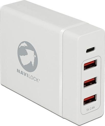 Navilock USB-Ladegerät 3x USB-A/1x USB-C weiß (62952)