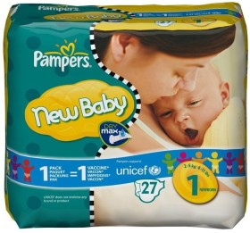 Pampers Premium Protection New Baby Gr.1 Einwegwindel, 2-5kg, 27 Stück