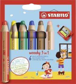 Stabilo Woody 3in1 mit Anspitzer, 6er-Set (8806-2)