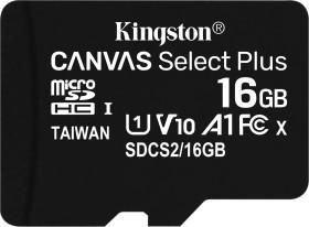 Kingston Canvas Select Plus R100 microSDHC 16GB, UHS-I U1, A1, Class 10 (SDCS2/16GBSP)