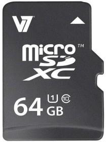 V7 R22/W15 microSDXC 64GB, UHS-I, Class 10 (VAMSDX64GUHS1R-2E)