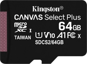 Kingston Canvas Select Plus R100 microSDXC 64GB, UHS-I U1, A1, Class 10 (SDCS2/64GBSP)