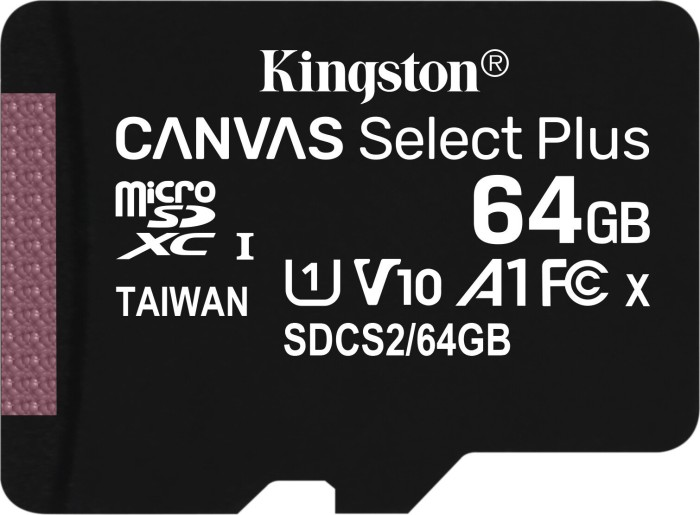 Kingston Canvas Select Plus R100 microSDXC 64GB, UHS-I U1, A1, Class 10 (SDCS2/64GBSP)