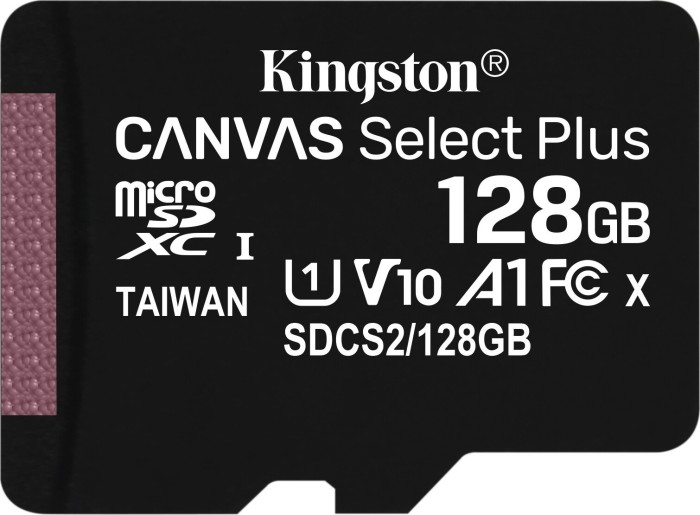 Kingston Canvas Select Plus R100 microSDXC 128GB, UHS-I U1, A1, Class 10 (SDCS2/128GBSP)