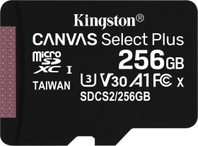 Kingston Canvas Select Plus R100/W85 microSDXC 256GB, UHS-I U3, A1, Class 10 (SDCS2/256GBSP)