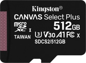 Kingston Canvas Select Plus R100/W85 microSDXC 512GB, UHS-I U3, A1, Class 10 (SDCS2/512GBSP)