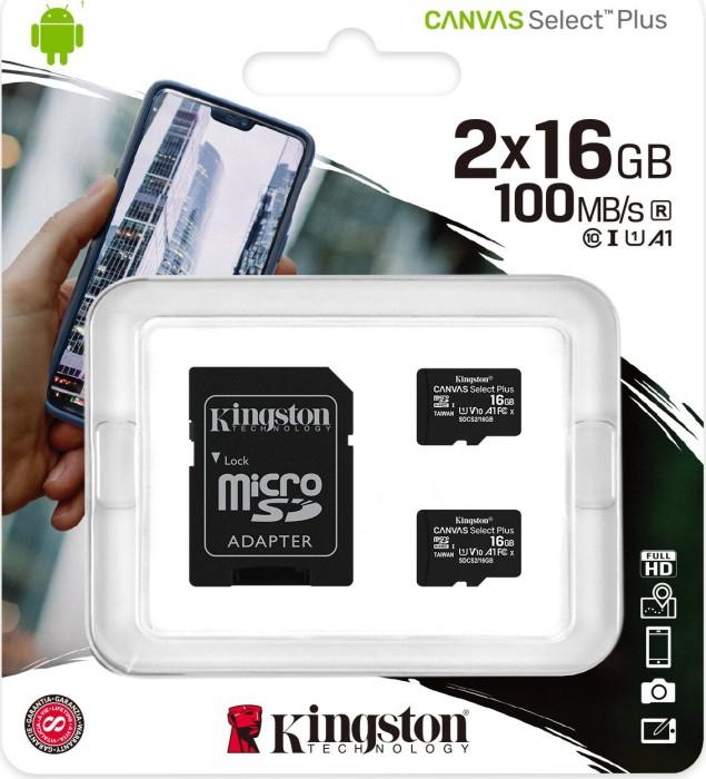 Kingston Canvas Select Plus R100 microSDHC 16GB Kit, UHS-I U1, A1, Class 10, 2er-Pack (SDCS2/16GB-2P1A)