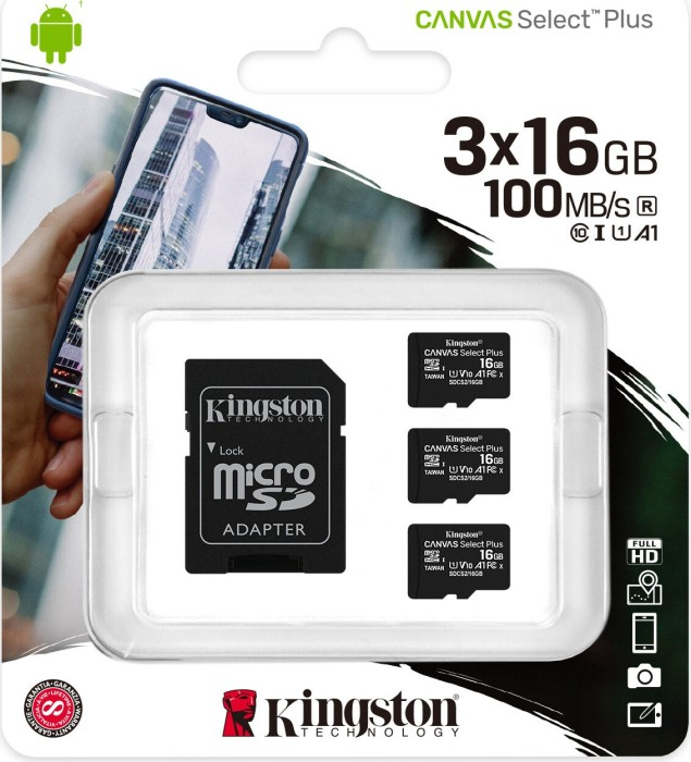 Kingston Canvas Select Plus R100 microSDHC 16GB Kit, UHS-I U1, A1, Class 10, 3er-Pack (SDCS2/16GB-3P1A)