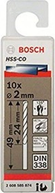 Bosch HSS-Co drills 2x24x49mm, 10-pack (2608585874)