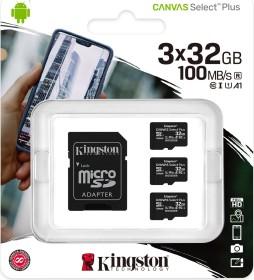 Kingston Canvas Select Plus R100 microSDHC 32GB Kit, UHS-I U1, A1, Class 10, 3er-Pack (SDCS2/32GB-3P1A)