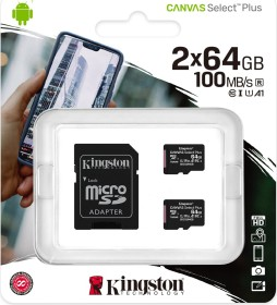 Kingston Canvas Select Plus R100 microSDXC 64GB Kit, UHS-I U1, A1, Class 10, 2er-Pack (SDCS2/64GB-2P1A)