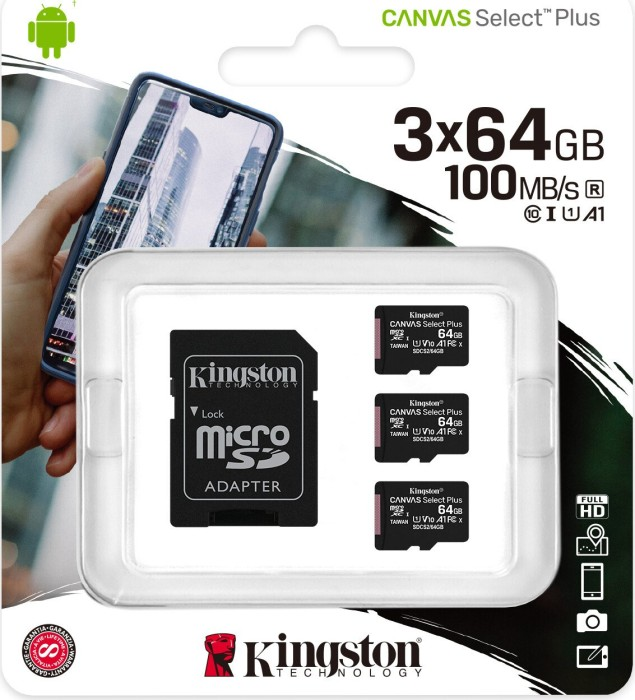Kingston Canvas Select Plus R100 microSDXC 64GB Kit, UHS-I U1, A1, Class 10, 3er-Pack (SDCS2/64GB-3P1A)