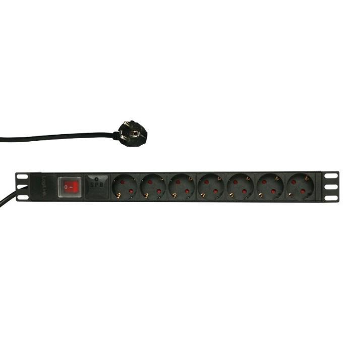"""LogiLink 19"""" 7-fach PDU mit Schalter, Überspannungsschutz, 2m (PDU7C01)"""