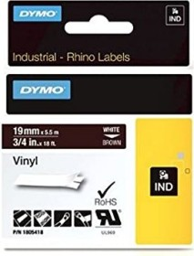 Dymo ID1 Industrial Rhino Pro labelling tape 19mm, white/brown (1805418)