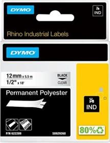 Dymo ID1 permanent Industrial Rhino Pro labelling tape 12mm, black/transparent (622289)