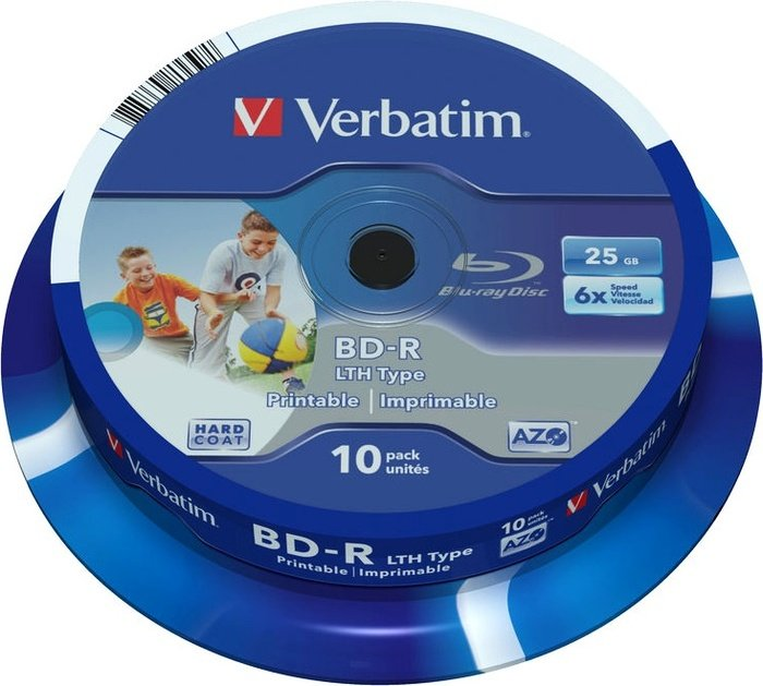 Verbatim BD-R LTH 25GB 6x, 10-pack Spindle printable (43751)