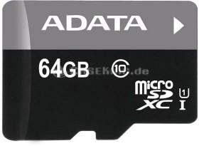 ADATA Premier microSDXC 64GB Kit, UHS-I U1, Class 10 (AUSDX64GUICL10-RA1)