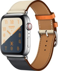 Apple Watch Hermès Series 4 (GPS + Cellular) Edelstahl 44mm silber mit Single Tour Swift Lederarmband indigo/craie/orange