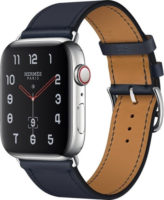 Apple Watch Hermès Series 4 (GPS + Cellular) Edelstahl 44mm silber mit Single Tour Swift Lederarmband indigoblau