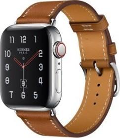 Apple Watch Hermès Series 4 (GPS + Cellular) Edelstahl 40mm silber mit Single Tour Barenia Lederarmband fauve